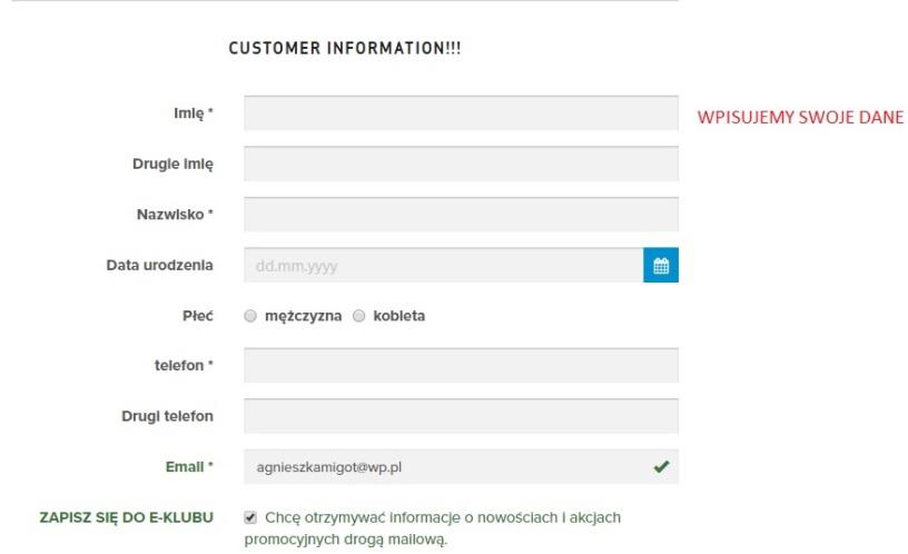 informacje klienta